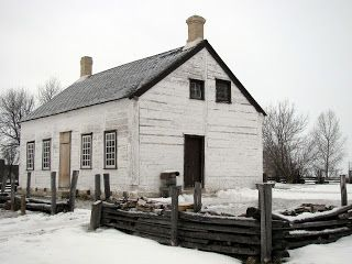 """Manitoba - This farm house (taken at Lower Fort Garry) is a typical """"Red River farmhouse of the Red River settlement, made with squared logs that were then whitewashed."""" From MARGARET BUFFIE'S WEBSITE/BLOG: 2011-12-11"""