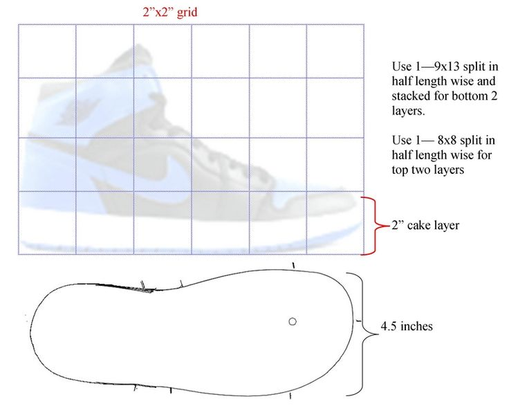 Jordan Shoe Cake Template 3d High Top Sneaker Nike