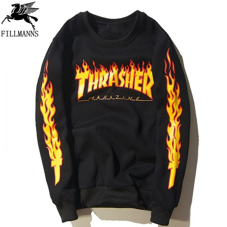 Pin Thrasher skate tshirt x New Brand Men T-shirt Hip Hop Clothing Brand Suprem T-Shirts skateboard hip hop Flame THRASHER T Shirt to one of your boards if you like it !