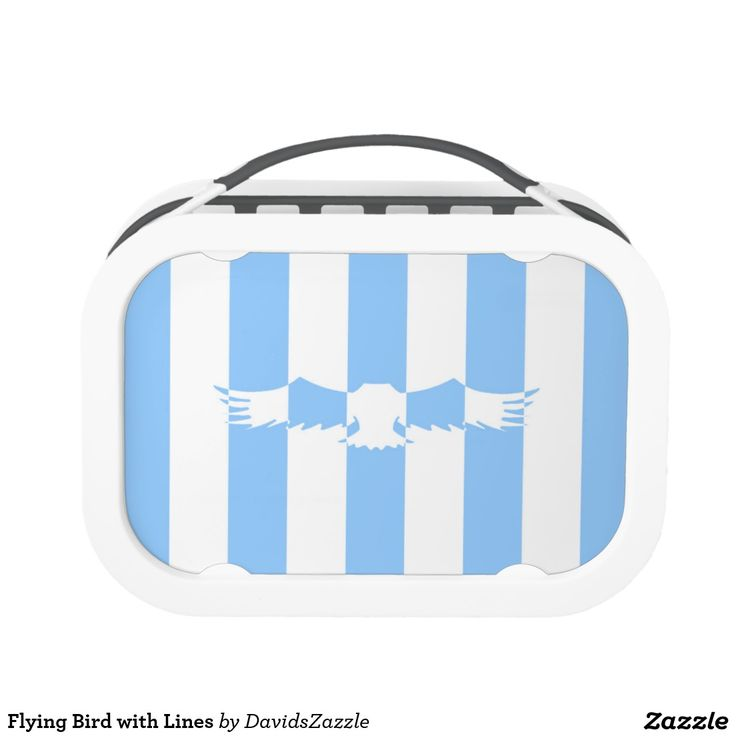 Flying Bird with Lines Lunch Box  Available on more products! Use the design name to search my Zazzle Products Page.  #eagle #bird #flight #flying #fly #feather #wings #blue #sky #take #white #animal #nature #planet #earth #illustration #silhouette #chic #contemporary #buy #sale #zazzle #home #decor #lunch #work #job #office #employment