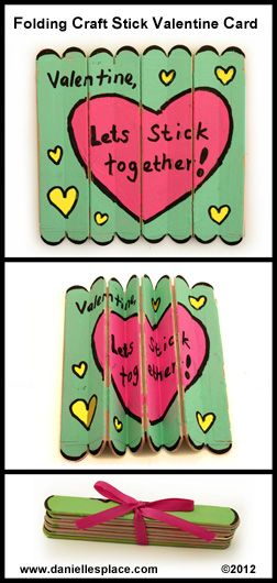 Folding Craft Stick Valentine's Day Card Craft. Many Valentine Crafts on this site.