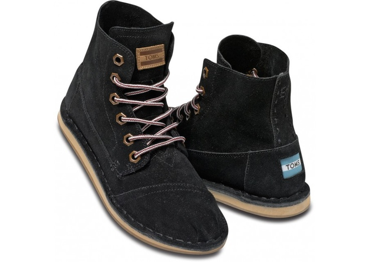 LOVE these Toms Black Suede Women's Tomboy Boots
