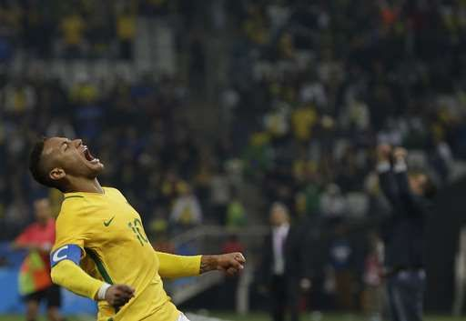 Neymar leads Brazil into men's soccer semifinals:  August 13, 2016  -      Brazil's Neymar celebrates at the end of a quarter-final match of the men's Olympic football tournament against Colombia in Sao Paulo, Brazil, Saturday Aug. 13, 2016. Brazil won 2-0 and qualified for the semi-finals.(AP Photo/Leo Correa)