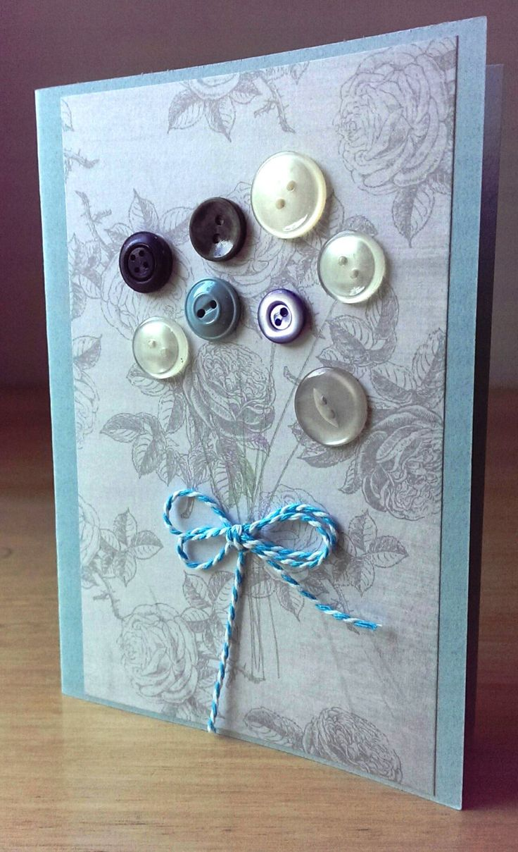 Handmade greeting card, button flowers, blue, silver, blank card, ribbons, purple card by SilverpressShop on Etsy