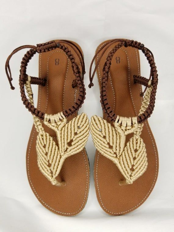 Macrame Leaves Design Sandals Chinelos Decorados Sapatos