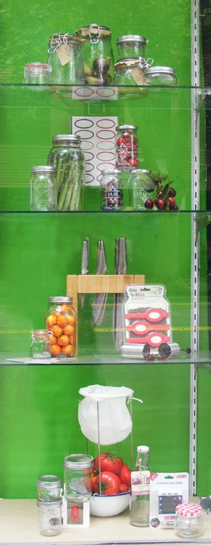 Summer preserving and pickling window display by Patricia Denis. #patriciadartist