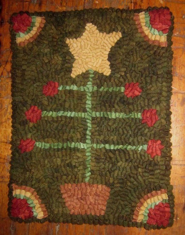 Primitive Hand Hooked Wool Christmas Feather Tree Rug ...~♥~