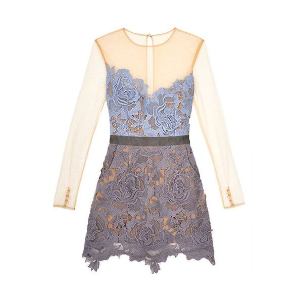 Pastel Lilac Grey Color-block Harmony Cut Out Mesh Sleeve Lace Dress... (630 MAD) ❤ liked on Polyvore featuring dresses, grey cocktail dress, lace dress, grey lace dress, colorblock dress and lace cocktail dress