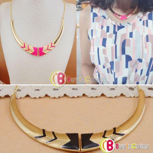 Vintage Fashion Short Collar Necklace Fluorescent Color Pendant -- BuyinCoins.com