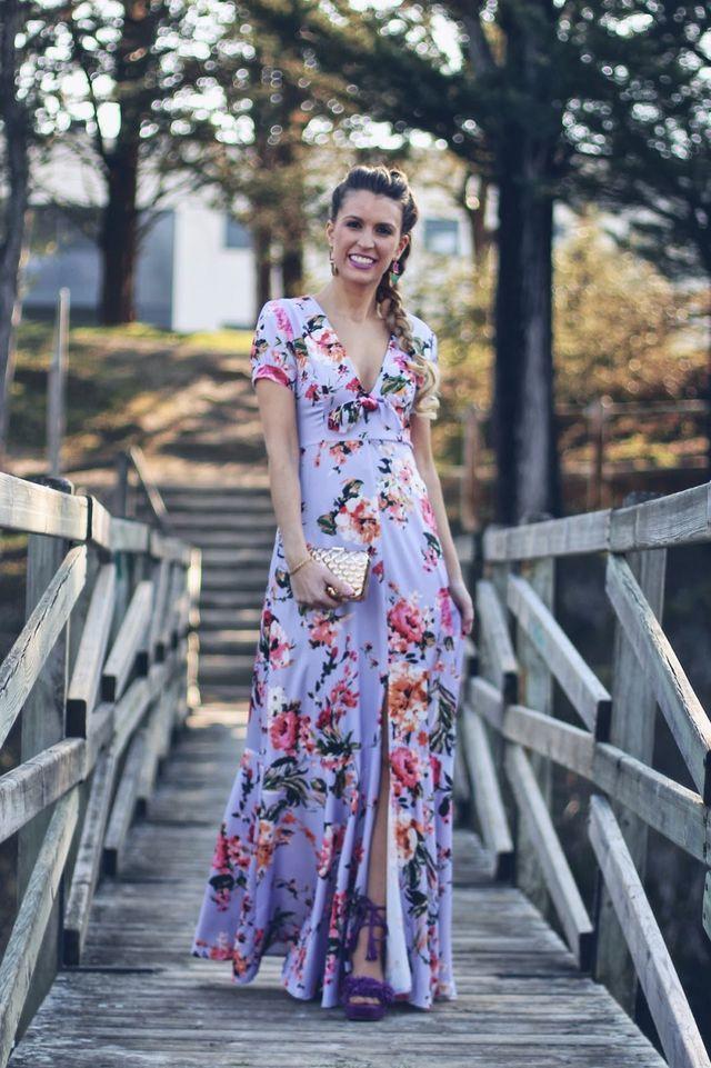 bd8cac880 Invitada con vestido largo flores (Mi tacón de quita y pon ...