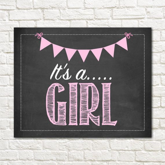It's a Girl Chalkboard Sign - Gender Reveal Photo Prop ...