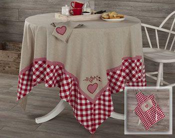 linge de table coeurs et vichy en pur coton - Becquet