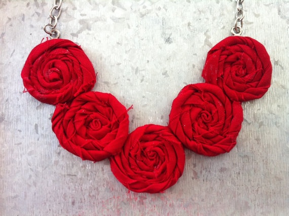 Fire Truck Red Rosette Necklace  Summer by TheGentleFlower on Etsy, $42.00