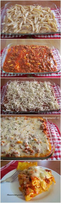 Recipe Best: Easy Baked Ziti very easy to make. Added mushrooms and onions on mine also cheddar cheese better as left over surprisingly.