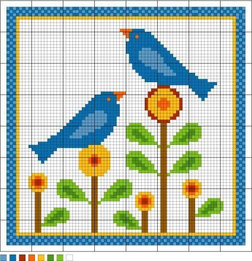 Bluebirds of Happiness needlepoint pattern