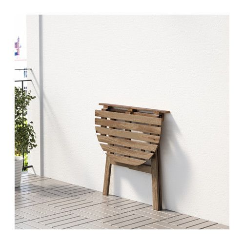 ASKHOLMEN Table for wall, outdoor, folding gray-brown stained