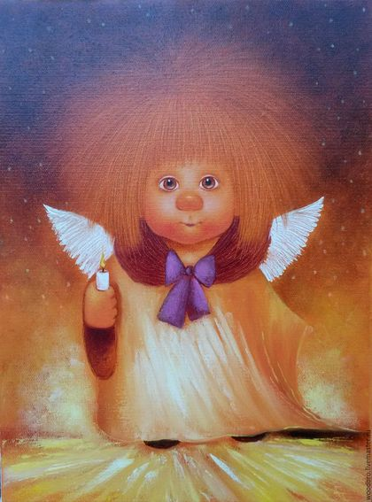 Люди, ручной работы. Ярмарка Мастеров - ручная работа. Купить Ангел несущий свет. Картина маслом.. Handmade. Картина в подарок