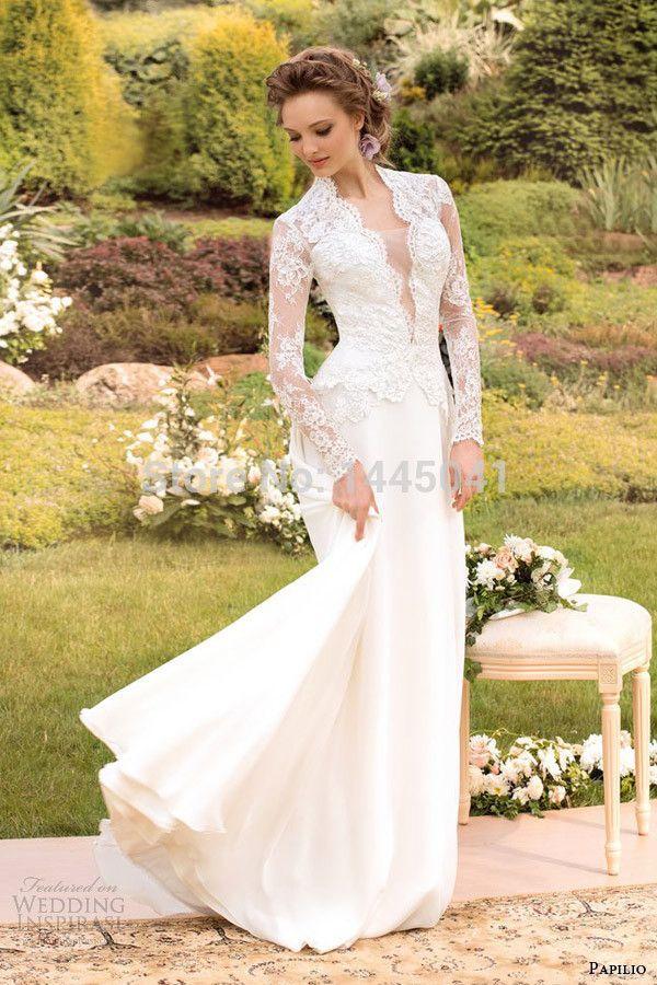 Cheap 2014 Nueva Pnina Tornai con cuello en V una línea de longitud de gasa blanco vestido de traje de novia de manga larga de encaje completa novia vestido de novia, Compro Calidad Vestidos de Novia directamente de los surtidores de China: