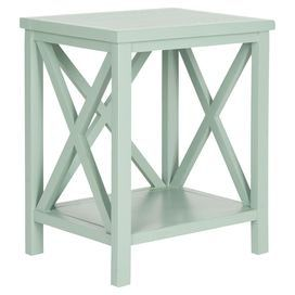 """Crafted from poplar wood and featuring a medium grey finish, this versatile end table adds architectural interest to your home with open its X paneling.     Product: End tableConstruction Material: Poplar woodColor: Medium greyFeatures: X-shaped detailingOpen bottom shelfDimensions: 21.5"""" H x 18.1"""" W x 13.4"""" D"""