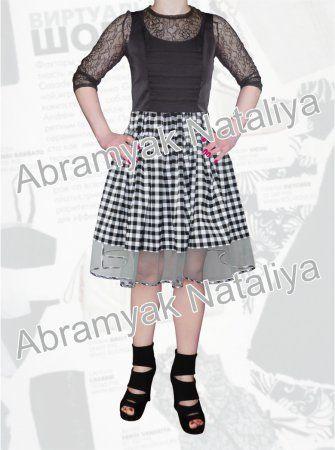 50$ Осенний сарафан для полных девушек с юбкой в клетку, декоративными складками на груди и эффектным прозрачным низом Артикул 954, р50-64
