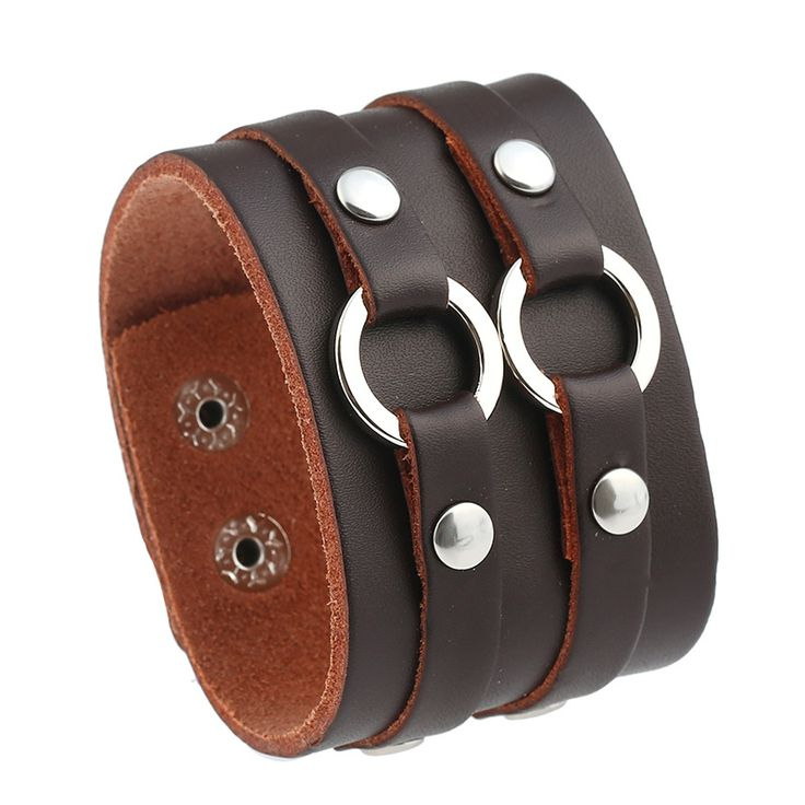 2017 New Hiphop Leather Cuff Bracelet Brown Wide Geometric Mens Leather Bracelets Cool Leather Wristbands Jewellery For Men