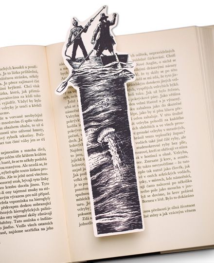 Moby Dick Bookmark, captain Ahab with Queequeg, the best harpooneer hunting the white sperm whale