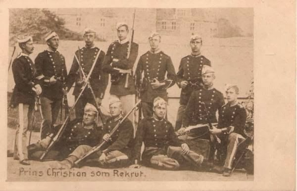 Young Prince Christian X (standing in the middle with his rifle) as a recruit in the Royal Danish Guards - 1889