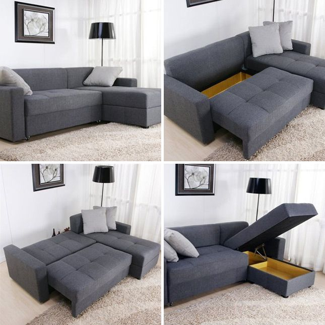 Convertible Sectional Sofa: The search for a sofa bed that doesn't suck is kind of an endless one, but this sectional just might fit the bill. Plus, look at all that storage space!