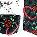 Red Rose Hearts Peyote Seed Beaded Bracelet von maddiethekat