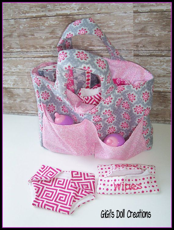Doll Diaper bag set for Bitty Baby or other by GiGisDollCreations