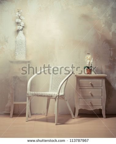 Interior design of room with furniture in beige-white colors - stock photo