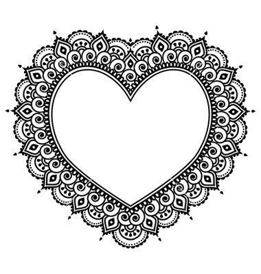 Herz Mehndi Design Indian Henna Tattoo Muster auf VectorStock – Vorlage