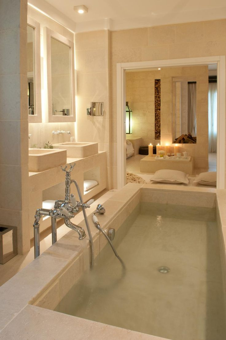 Need this tub! And love the lighting under sinks