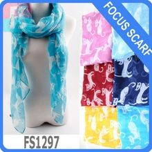 cut cat scarf pattern 6 colors