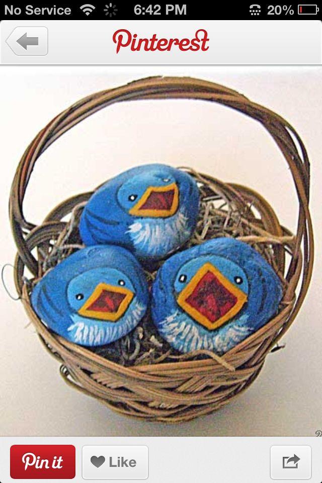 How cute! Little baby bird painted rocks.