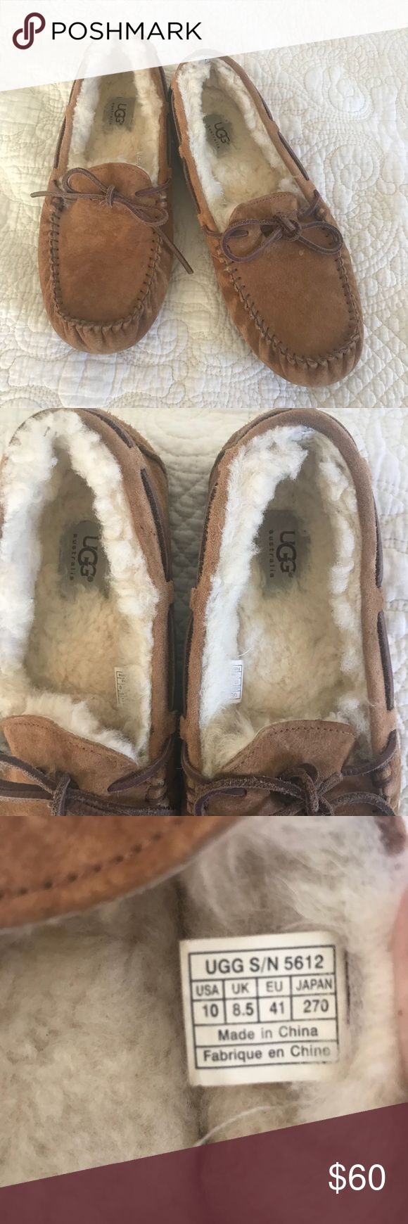 UGG Sheepskin Slipper Moccasins In Chestnut Authentic UGG slip-ons. Extremely comfortable! Women's size 10. They have been worn very few times, but never outside. In excellent condition. UGG Shoes Moccasins