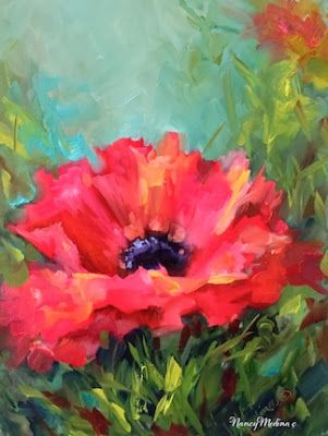 Pink Parasol Poppy, 16X12, oil, just in time for the holidays! www.nancymedina.com