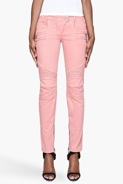 swoon. pink Balmain paneled jeans. Actuallly rele like these