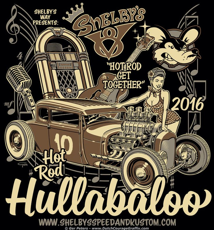 Hot Rod Hullabaloo 2016 T-shirt - black #hotrod #hot #rod #hullabaloo #car #show #event #Tshirt #artwork