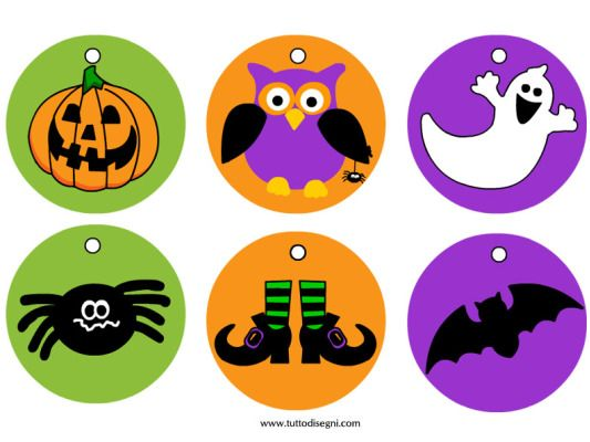 Medaglie Halloween colorate da ritagliare