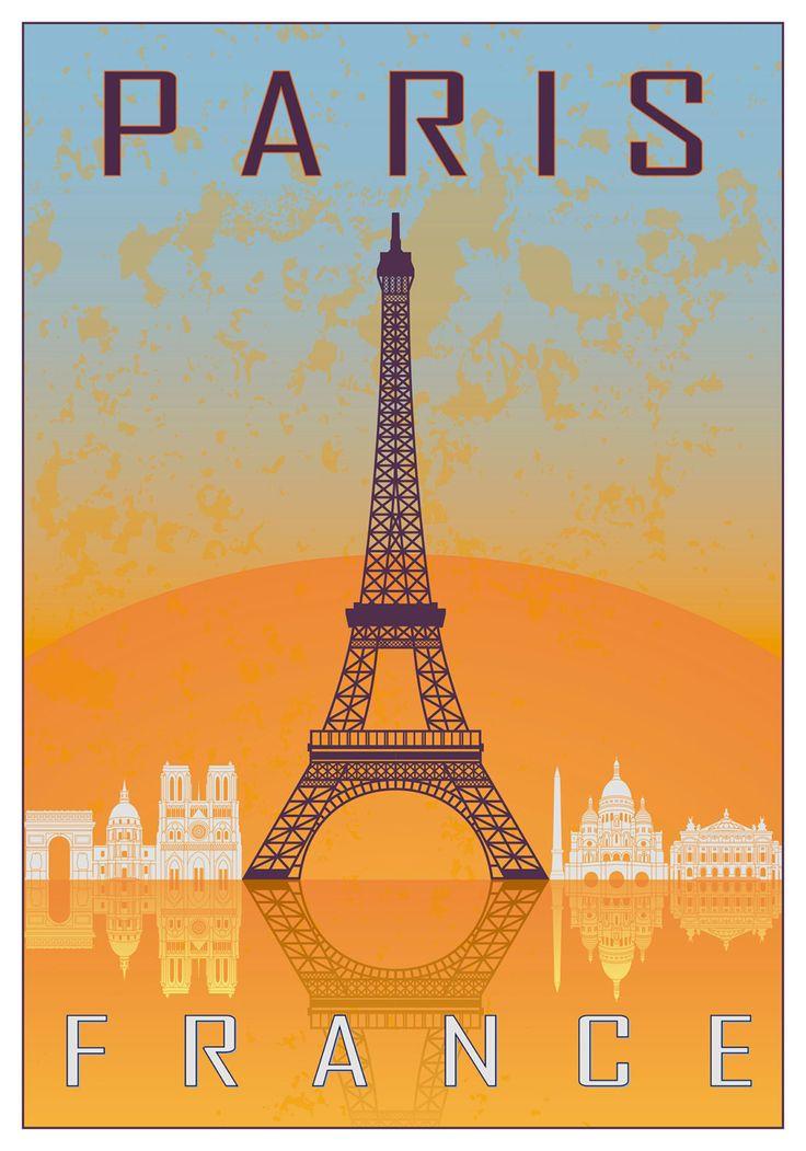 Paris vintage style poster van Paulrommer op Etsy
