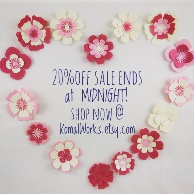 Just a few more hours to save on the biggest sale event of the year at KomalWorks.etsy.com Save 20% on your entire purchase and get FREE worldwide shipping!The sale ends at midnight tonight! #etsysales #etsy #etsyshop #paperdecor #paperflowers #komalworks
