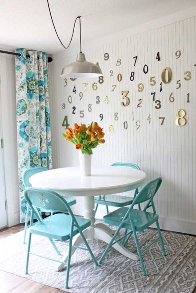Use house numbers to make a big empty wall look awesome AF. | 17 Impossibly Easy Kitchen DIYs That Only Look Expensive