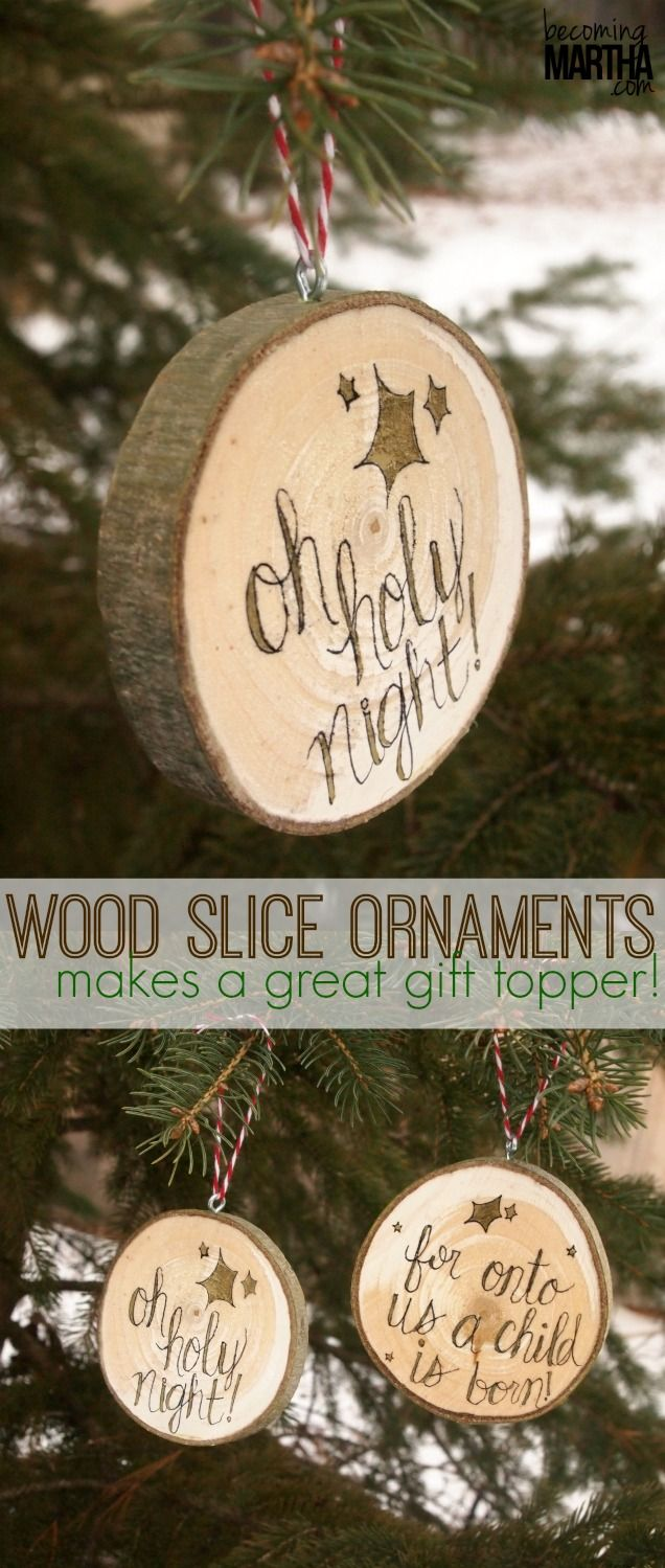 wood slice ornaments | These wood slice Christmas ornaments are a quick and easy gift to make, and look great on top of a wrapped present! Learn how to make your own in this post.