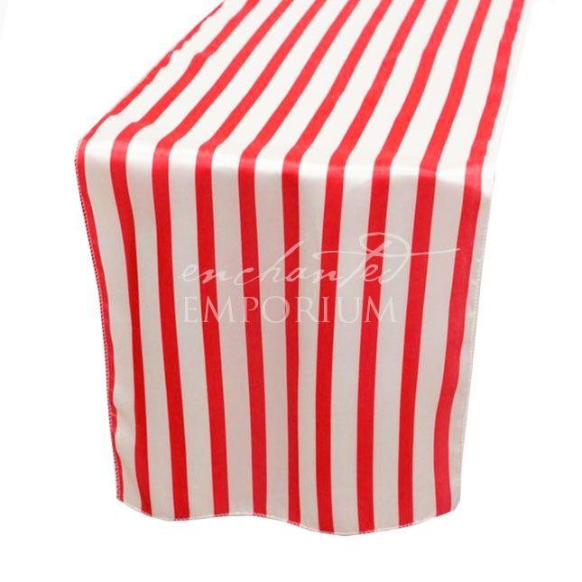 Red & White Striped Satin Table Runner, Enchanted Emporium