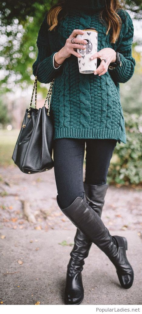 Chunky knit on green and black details