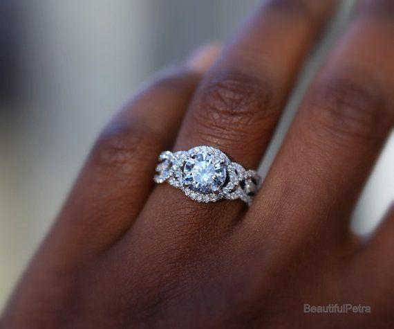 TWIST OF FATE   BeautifulPetra.com   .50 Carat Center Diamond Engagement  Ring   14k White Gold   Halo   Unique   Swirl   Pave   Bp024