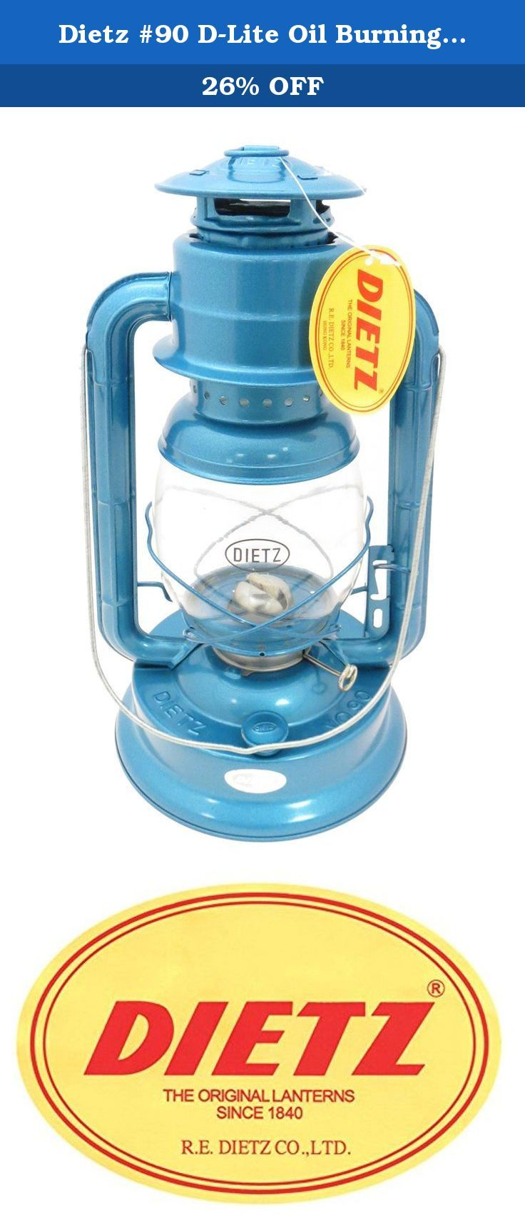 Dietz #90 D-Lite Oil Burning Lantern. The Dietz #90 D-Lite Lantern stands 13 inches tall, burns 26 hours on 31 ounces of fuel, has a 12 candlepower output, and comes with a 7/8 inch wick. Great for emergencies, camping, or as a casual decoration.