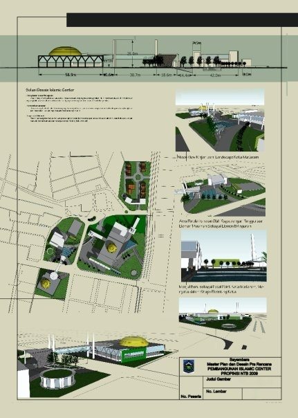 Draft for Lombok Islamic Center-Design Competition| Sketchup + Adobe InDesign