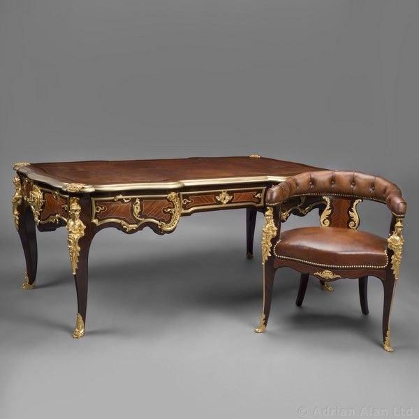 'Bureau Plat à Têtes De Guerriers Antiques' - An Important Regence Style  Gilt- - 22 Best Fine Antiques #Desks & #Bureaux Plats Images On Pinterest